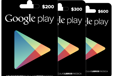 Tarjetas Gift Card de Google Play