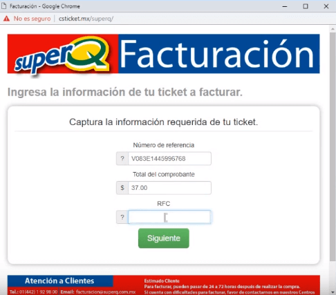 datos del ticket y rfc super q facturacion Tiendas Super Q