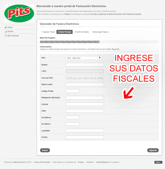 datos fiscales pits facturacion Tiendas Pits